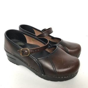 SANITA Mary Jane Leather Clogs 36